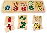 """Puzzle a incastro in legno """"Accoppia i numeri e le quantità"""", cm 30 x 12"""