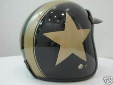 Vintage Scooter Vespa Helmet Moto Black Gold Star NEW