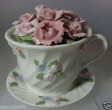 """UNITY GIFTS  """"A CUP OF FLOWERS MUSICAL ORNAMENT """" 10900  NEW & BOXED"""