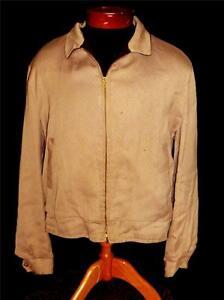 RARE VINTAGE PRINTED 1950'S BROWN REVERSIBLE GABARDINE ZIPPER JACKET SIZE LARGE