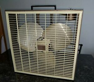 "Fresh'nd Aire Cory 20"" 2speed Biege Brown Portable Window Fan 1970's"
