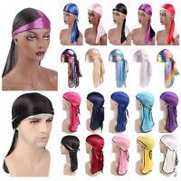 Unisex Women Men Silk Bandana Durag Cap Headwear Wrap Cover Summer Headband Hat