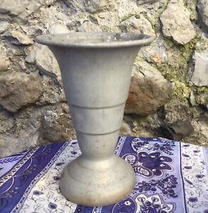 Antique FRENCH PARIS FLORIST VASE Weighted Base Zinc Art Deco Floral Silver
