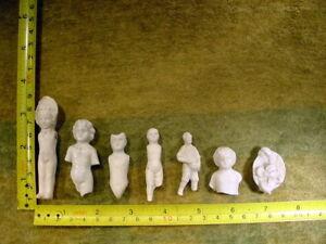 7 x excavated vintage victorian frozen charlotte Doll age 1860  Art 11841
