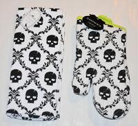 Eastwick Skull Halloween Oven Mitts & Kitchen Towels NEW