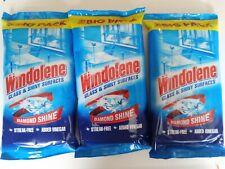 Windolene Glass & Shiny Surfaces Wipes Leaves House/Car Windows 30 Pack x 3