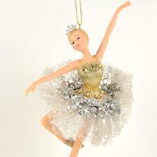 Nutcracker Ballet Ballerina in Silver/Gold Resin 6.5 inches Christmas Ornament