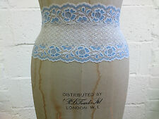 Yellow Blue Peach Teal Black Stretch Floral Scallop Lace Edge Trim 6/15cm Wide