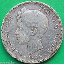 1896 Spain Silver 5 Peseta SNo36248