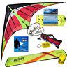 Prism Hypnotist Dual Line Delta Stunt Kite Kit + Vid Lnk + 75ft Tube Tail - Fire