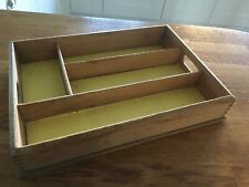 Vintage Wooden Cutlery Tray 4 Compartments Storage Kitchen Drawer Camper Carava