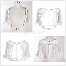 Womens Sexy PU Leather Open Cupless Body Bra Chest Harness Tassel Belt Strap
