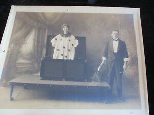 "RARE Antique Magician Photo 8"" x 10"" Costume Trunk/Sub Trunk?"