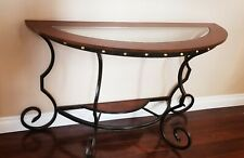 """Sofa Table 48"""" x 18"""" x 30"""" , Light Brown Wood with Glass and Antique Brass Metal"""