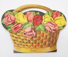 Vintage Needle Card w Needles Threader Basket of Flowers Two Sided by Foreign