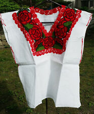 Maya Mexican Blouse Top Shirt Embroidered Flowers Huipil Chiapas White Medium JA