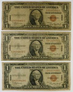 1935-A $1 Federal Reserve Hawaii Currency Banknotes - 3 Examples - Group #1