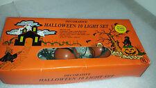 Plastic Skulls Cats Pumpkins String Light Set  Vintage Halloween Decor Lights