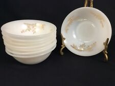 Set of 8 Federal Golden Glory Dessert Bowls Milk Glass Bamboo