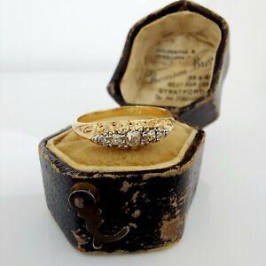 Beautiful Antique Victorian 18ct Gold & Diamond Five Stone Engagement Ring UK K