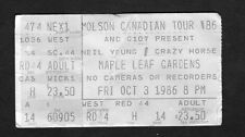 1986 Neil Young Crazy Horse concert ticket stub Toronto Canada Landing on Water
