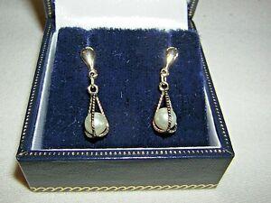 Vintage 9ct Yellow Gold Pearl Drop Earrings