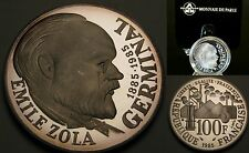 1985 France Large Silver Proof 100 fr- Zola, Box.