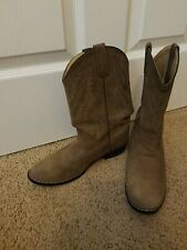 Boys Size 4 Leather Suede Mid Pull On Cowboy Boots Tan Brown