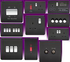 Switch Sockets Screwless Flatplate - Sockets Matt Black Black Inserts USB Socket