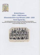 Bristol Rovers 1959-60 rara originale firmato a mano Team Group CARD 14 x firme