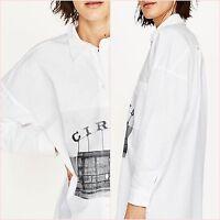 Zara White Oversize Long Sleeve Shirt Dress Size 6 8 10 US 2 4 6 XS S Blogger ❤