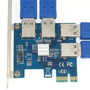 4 Anschlüsse PCI-E PCIe Riser PCI-E 1x bis 4 USB 3.0 Rabbet GPU Adapterplatine