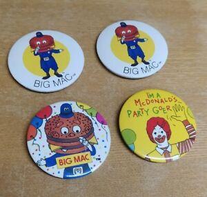 4 x Vintage & Retro Macdonalds Badges Mcdonalds Toys 80s 90s - Joblot bundle