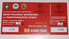 old ticket CL q Polonia Warszawa Panathinaikos Athens 2000 Poland Greece Plock