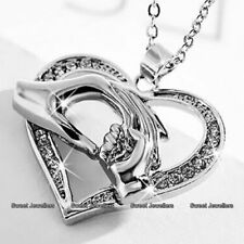 Gifts For Her - 18K White Gold Heart Necklace Love Mum Daughter Mom Sister Women