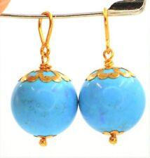 22K Oro 916 Solid Blu Turchese Paio 2 Orecchino Goccia Ciondolo Ciondoli
