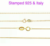 Rose 18k Gold Plated on 925 Sterling Silver Necklace Chain Italy