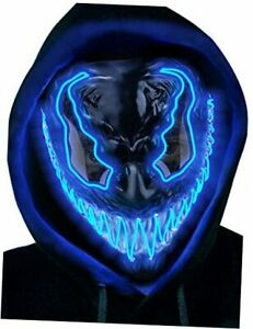 Halloween Mask Scary Led Light Up Mask with 3 Lighting Modes EL Wire for