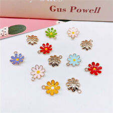 15x18mm enamel daisy charm for jewelry making earring necklace pendant10pcs/lot