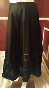 *NEW* CHICO'S BLACK 100% SILK 100% POLY LINED MAXI SKIRT COCKTAIL CASUAL  Rt$128