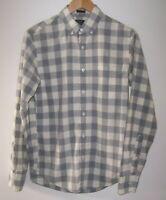 J. Crew Gray/White Buffalo Plaid Button Down Heathered Cotton Shirt Mens S Slim