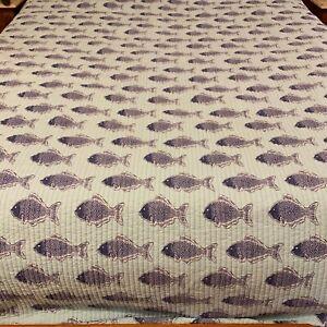 "Levtex Comforter Fish Reversible Stripes Blue 96"" x 104"" Quilt"