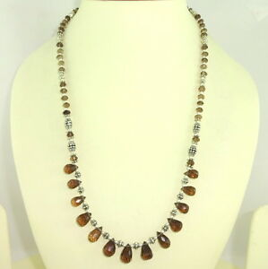 Necklace natural smoky quartz gemstone faceted beaded handmade jewelry