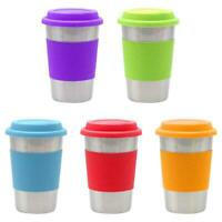 Stainless Steel Coffee Mug 500ml Tea Cup Non-slip Sleeve Travel Silicone Lid Top
