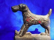 Antique Airedale Irish Terrier Wire fox terrier Iron bookend WElsh Terrier dog *