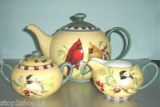 Lenox Winter Greetings Everyday Teapot, Sugar Bowl & Creamer 3 Piece Set NEW