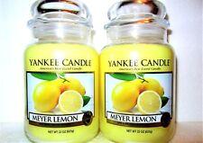 """SET OF 2 Yankee Candle """"MEYER LEMON"""" ~ Fruit ~ Large 22 oz.~ WHITE LABEL ~ NEW"""
