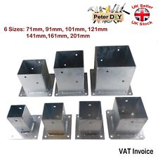 Heavy Duty Galvanised Bolt Down SQUARE POST Fence Foot Base Support 71-201mm