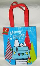 New ListingPeanuts Snoopy on Doghouse Merry & Bright Christmas Tote/Gift Bag-Nwt