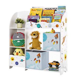 Kinderzimmerregal Bücherregal Spielzeug-Organizer +2 Aufbewahrungsboxen GKR42WT